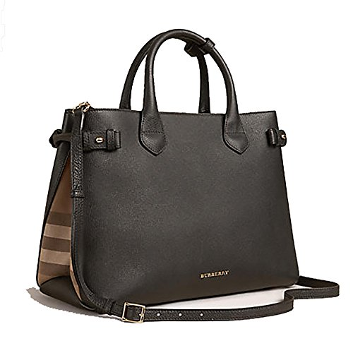 Tote Bag Handbag Authentic Burberry The Medium Banner in Leather and House Check Black Item