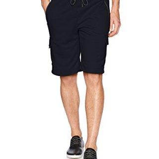 Southpole Men's Fleece Jogger Shorts, Navy/Tech Fleece, Large