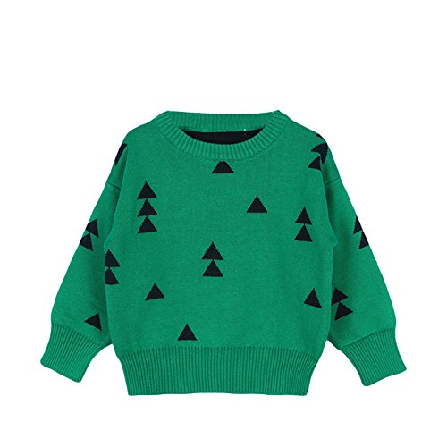 Unisex Kids Baby Winter Cotton Knit Christmas Trees Round Neck Pullover Sweater Sweatshirt Outwear 1-5T (12-18 Months/90cm, Green)