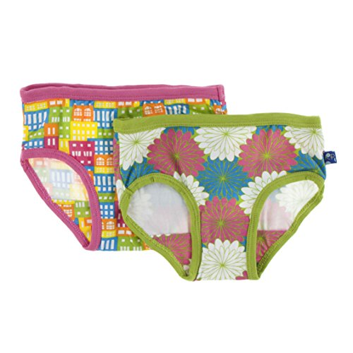 Kickee Pants Little Girl Underwear Set, Natural Houses and Tropical Flowers, 3T/4T