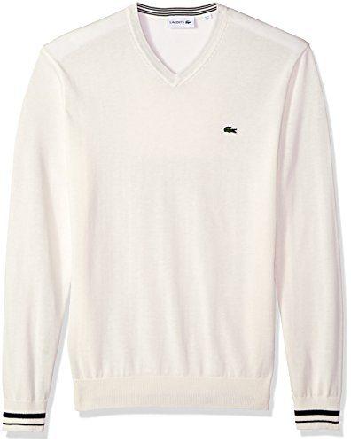 Lacoste Men's Long Sleeve Semi Fancy Jersey V-Neck Sweater, Flour/Navy Blue, 4X-Large