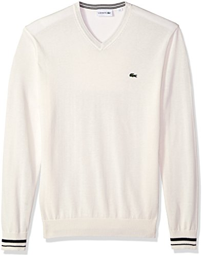Lacoste Men's Long Sleeve Semi Fancy Jersey V-Neck Sweater, Flour/Navy Blue, 4X-Large