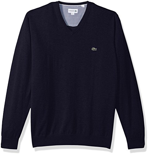 Lacoste Men's V Neck Cotton Jersey Sweater with Green Croc, Navy Blue, Large