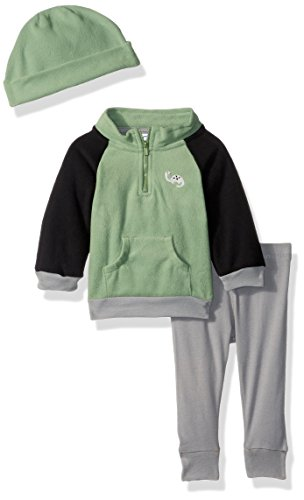 Gerber Baby Boy 3 Piece Micro Fleece Top, Pant and Cap Set, Dino, 3-6 Months