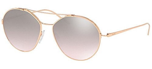 Prada Women's Round Aviator Sunglasses, Pink Gold/Brown Silver, One Size