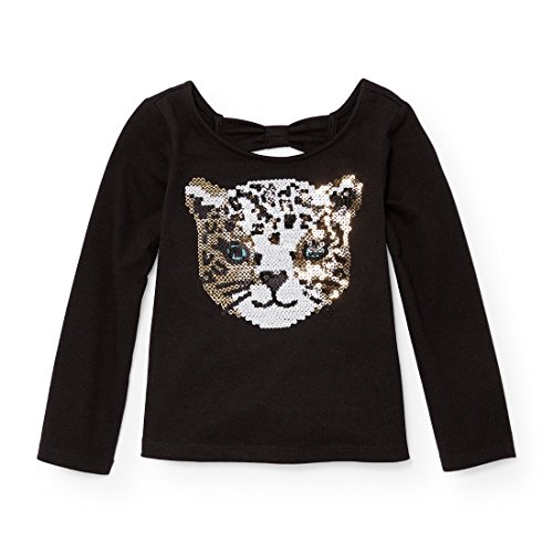 The Children's Place Baby Little Girls' Long Sleeve Top, Black 88439, 4T