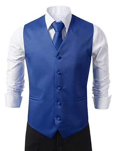 Brand Q 3pc Men's Tuxedo Vest,Neck Tie,Pocket Square Set for Suit or Tuxedo (SM, Royal Blue)