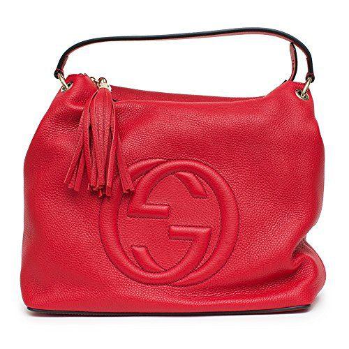 Gucci Soho Flame Red Leather Bag Soft Hobo Italy Handbag New
