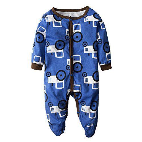 BIG ELEPHANT Baby Boys' One Piece Graphic Long Sleeve Pajama Romper Sleeper Blue H84