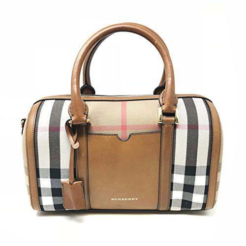 Burberry Womens Alchester Leather House Check Bowler Handbag Brown Medium