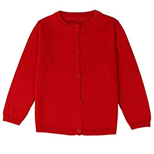Baby Boys Girls Button-down Basic Crew Neck Solid Cardigan Toddler Cotton Knit Sweater (2-3 Years, Red)