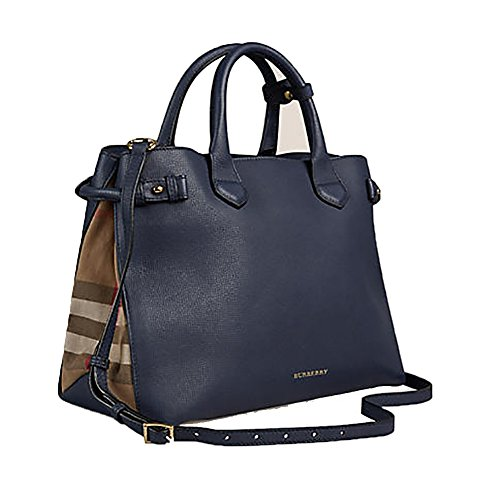 Tote Bag Handbag Authentic Burberry Medium Banner in Leather and House Check INK BLUE Item