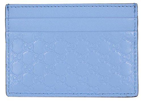 Gucci Women's Leather Micro GG Guccissima Small Card Case (Mineral Blue)