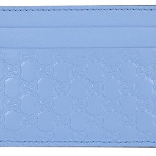 Gucci Women's Leather Micro GG Guccissima Small Card Case (Mineral Blue)