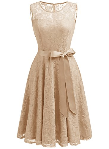 Dressystar DS0009 Women's Floral Lace Dress Short Bridesmaid Dresses with Sheer Neckline L Champagne