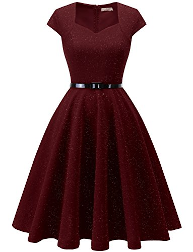 Dressystar 0020 Women Cap-Sleeve Glitter Vintage 1950s Retro Rockabilly Cocktail Party Dresses with Belt L Burgundy