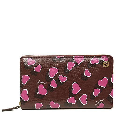 Gucci Heart Heartbeat Collection Purple Leather Zip Around Wallet
