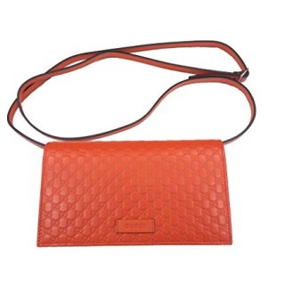 Gucci Women's Guccissima Leather Orange Shoulder Crossbody Clutch Bag