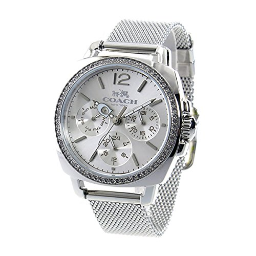 Coach Womens Mini Boyfriend Silver Tone Stainless Mesh Glitz Watch