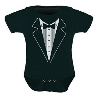 Cute Mini Suit & Tie Unisex - Tuxedo Wedding Baby Bodysuit Newborn Black