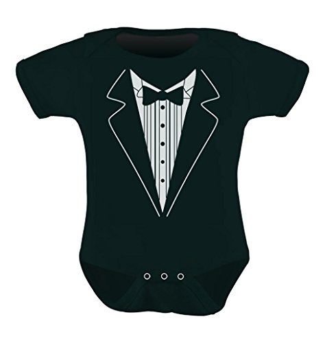 Cute Mini Suit & Tie Unisex - Tuxedo Wedding Baby Bodysuit Newborn Black