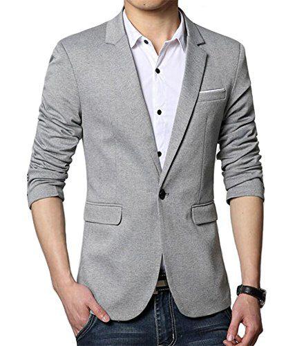 Benibos Men's Premium Casual One Button Slim Fit Blazer Suit Jacket (S, 3625Grey)