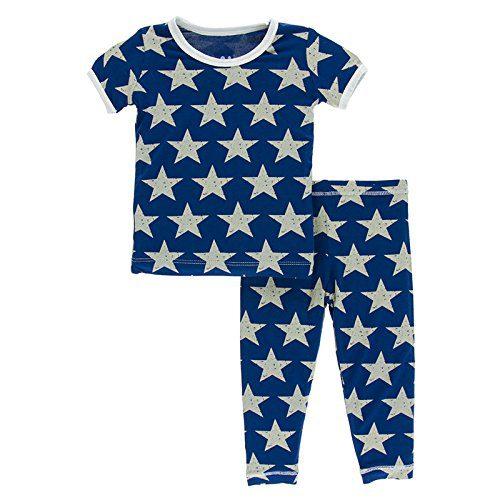 Kickee Pants Little Boys Print Short Sleeve Pajama Set, Vintage Stars, 2T