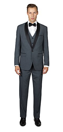 Alain Dupetit Men's Medium Grey Tuxedo Three Piece with Shawl Lapel 48R Medium Grey