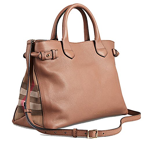 Tote Bag Handbag Authentic Burberry Medium Banner in Leather and House Check Dark Sand Item