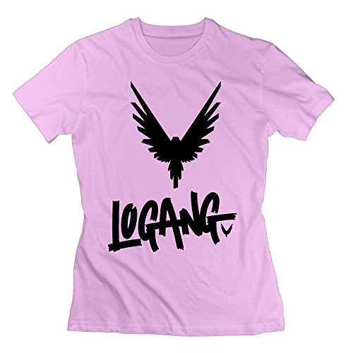 Women's Logan Paul Maverick Design T Shirt Cotton Short Sleeve L Pink