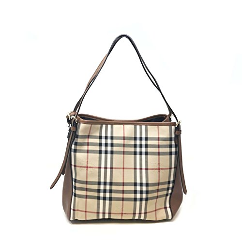 Burberry Women's Small Canter in Horseferry Check and Leather Beige Brown