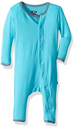 Kickee Pants Baby Boys' Solid Fitted Coverall Prd-kpca212-Cisky, Confetti with Dusty Sky, 6-12 Months