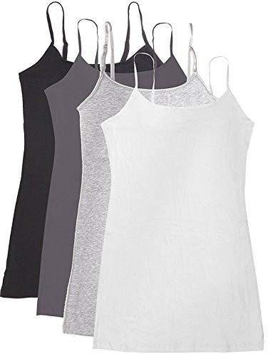 Active Basic Women's Basic Casual Plain Camisole Cami Top Tank Junior and Plus Sizes - 4 Pack Pack Deal