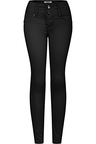 2LUV Women's 2 Button Stretchy Butt Lift Skinny Color Colombian Jean Black 3