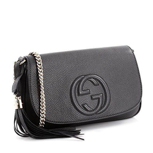 d14a041447ee5c Gucci Soho Leather Flap Shoulder Bag Black Gold Tassel New Authentic
