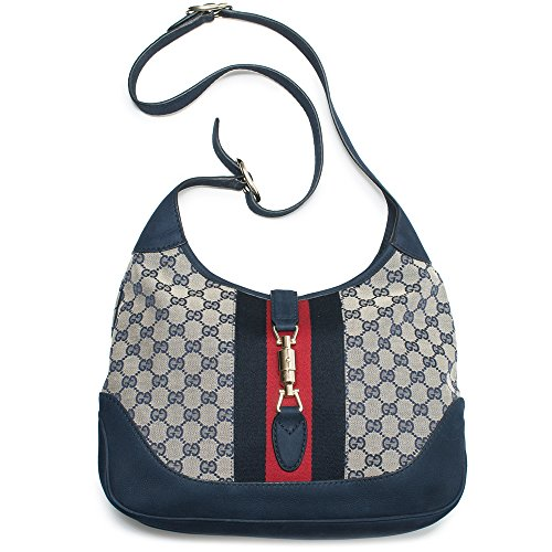 ae36c9c386a9a1 Gucci Jackie Original GG Shoulder Bag Stripe Classic Medium Handbag Blue  Navy Red New