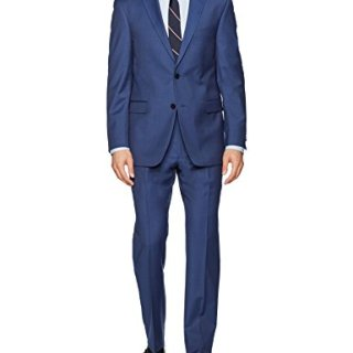 Tommy Hilfiger Men's Wool Stretch Ready to Wear Suit with Hemmed Pant, Solid New Blue, 40R