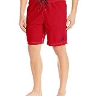 Nautica Men's Standard Solid Quick Dry Classic Logo Swim Trunk, Red, Medium