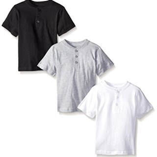 American Hawk Little Boys' Toddler 3 Piece Pack Henley Shirt, White/Black/Heather Grey, 4T/4