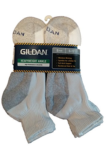 Gildan 8 Pair Heavyweight Ankle Socks Men's 6-12, White,