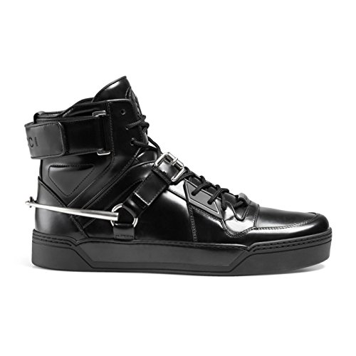 Gucci Men's Black Shiny Leather GG Horsebit High Top Sneakers Shoes, Black, US 12.5 11.5