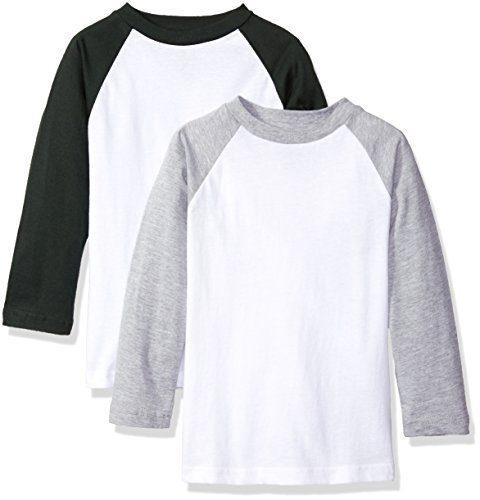 American Hawk Big Boys' 2 Pack: Raglan Baseball Jersey T-Shirts, White/Hunter Green/White/Heather Grey, 10/12