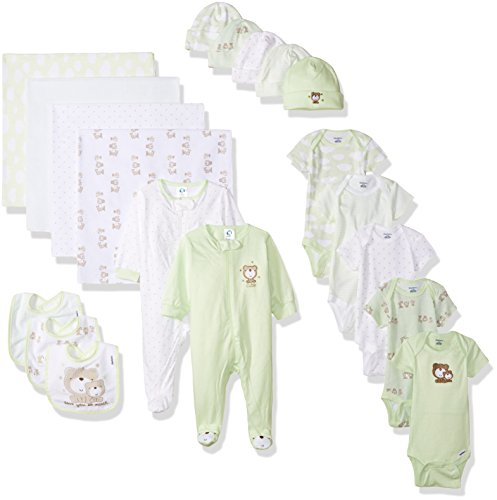 Gerber Baby Unisex' 19 Piece Baby Essentials Gift Set, Teddy, Newborn