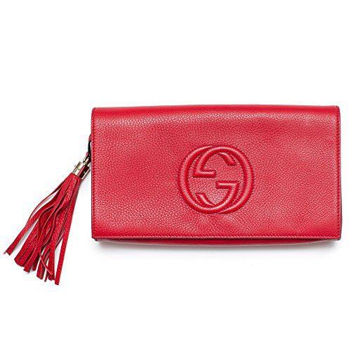 852f1faa6699ca Gucci Soho Leather Clutch Envelope Red Bag Tassel Handbag Bag Purse Italy  New
