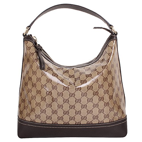 Gucci Crystal GG Monogram Coated Canvas & Leather Hobo Bag, Brown