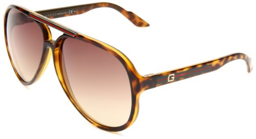 Gucci Men's 1627/S Aviator Sunglasses,Havana Frame/Brown Grey Grad Lens,One Size