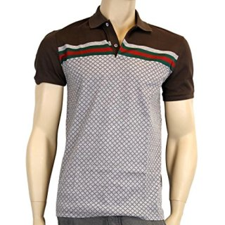 Gucci Men's Cotton Polo GRG Web Top Diamante Shirt 251623 2479 (Large)