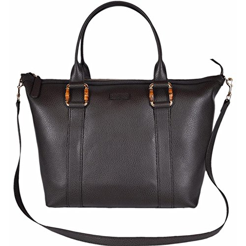 Gucci Dark Brown Leather Handbag w/Bamboo Detail and Removable Strap