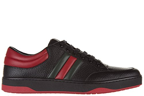 Gucci Men's Shoes Leather Trainers Sneakers Praga Karibu' Black U.S. Size 8