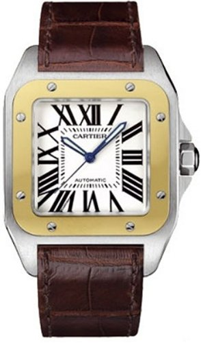 Cartier Men's Santos 100 XL Automatic Yellow Gold Stainless Steel and Leather Watch